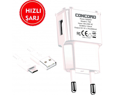 Concord C-766 2.4A Micro USB Quick Charger